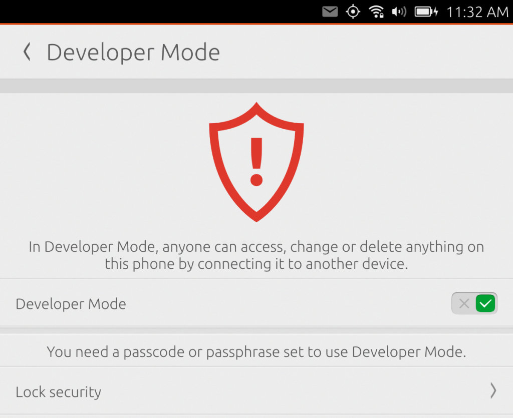 Ubuntu Phone - Developer Mode